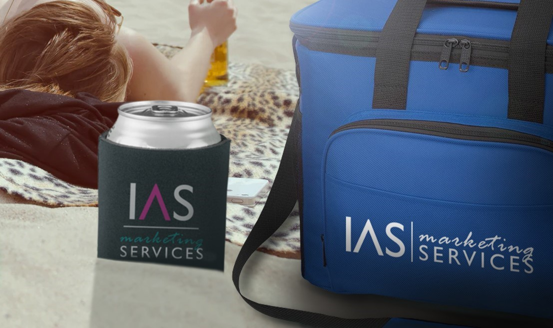 cooler and coozie promotional products with IAS marketing services logo